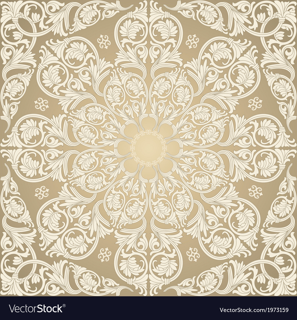 Damask seamless with baroque ornaments vector | Price: 1 Credit (USD $1)