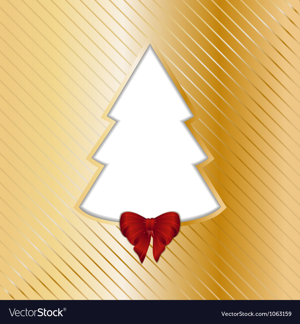 Gold christmas backgound with cut out tree vector | Price: 1 Credit (USD $1)