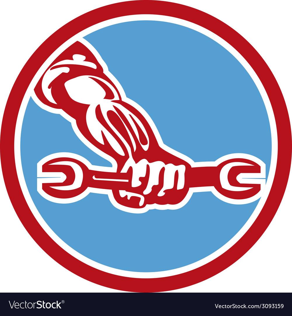 Mechanic hand holding spanner circle retro vector | Price: 1 Credit (USD $1)