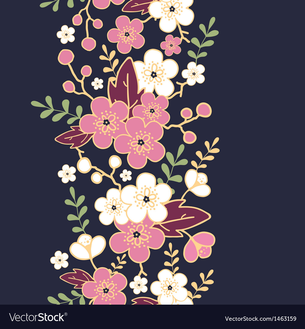 Night garden sakura blossoms vertical seamless vector | Price: 1 Credit (USD $1)