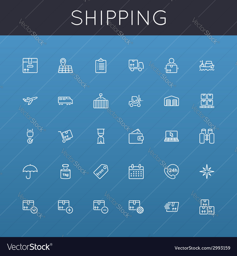 Shipping line icons vector | Price: 1 Credit (USD $1)