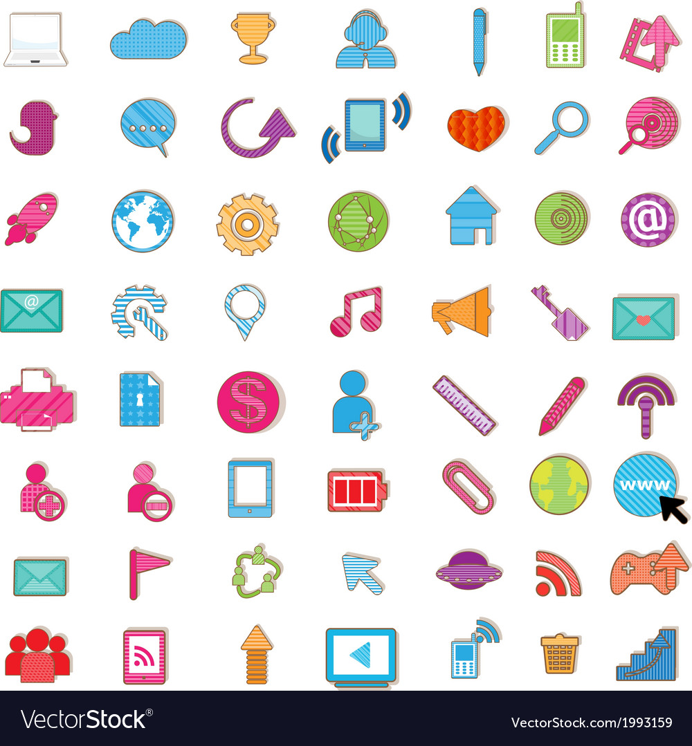 Social color media color icon network vector | Price: 1 Credit (USD $1)