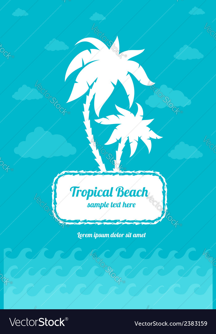 Tropical beach palms sign vector | Price: 1 Credit (USD $1)