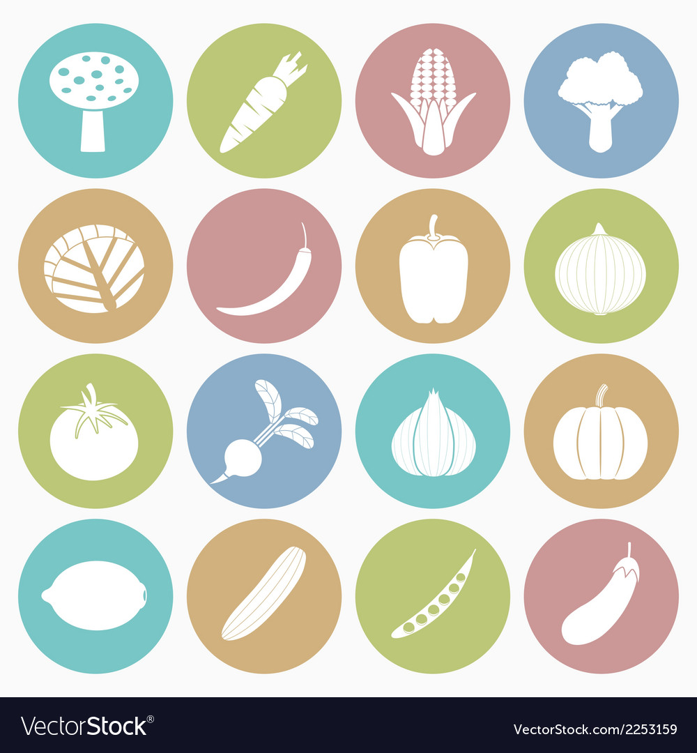 White icons vegetable vector | Price: 1 Credit (USD $1)