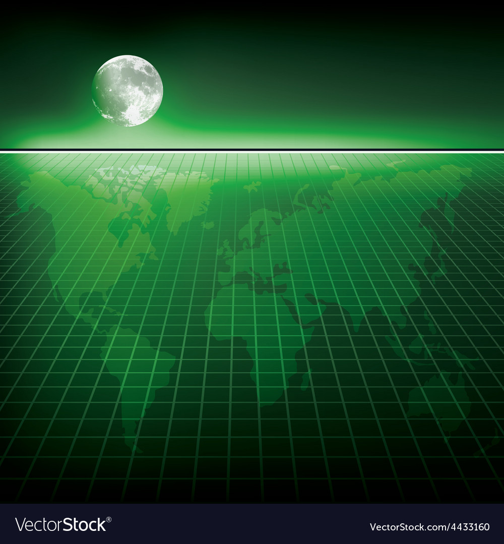 Abstract green background with earth map and moon vector | Price: 1 Credit (USD $1)