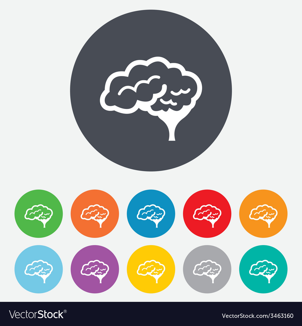 Brain sign icon intelligent smart mind vector | Price: 1 Credit (USD $1)