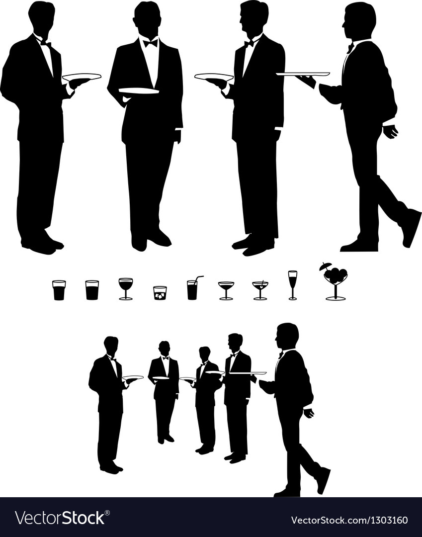 Graphic waiter and beverages vector | Price: 1 Credit (USD $1)