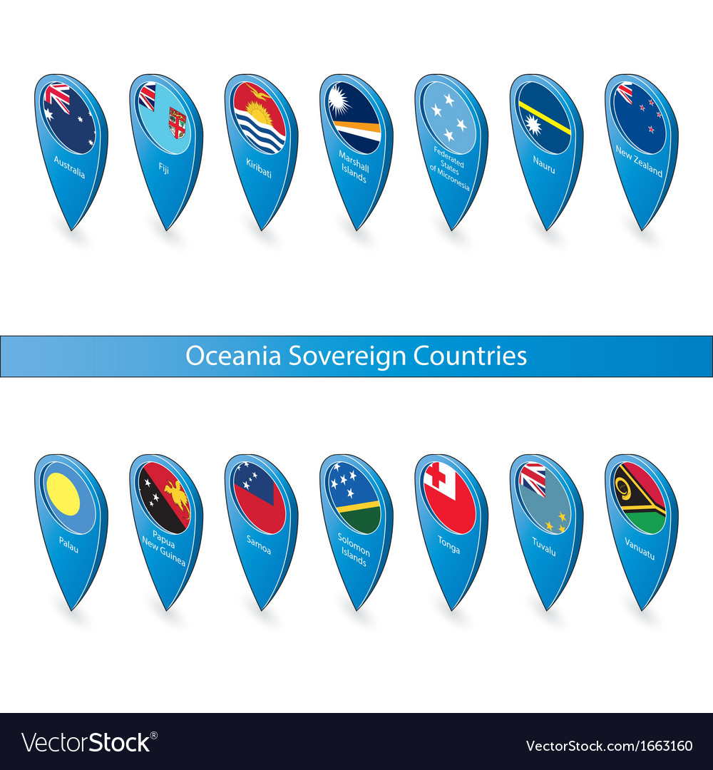 Pin flags of oceania sovereign countries vector | Price: 1 Credit (USD $1)