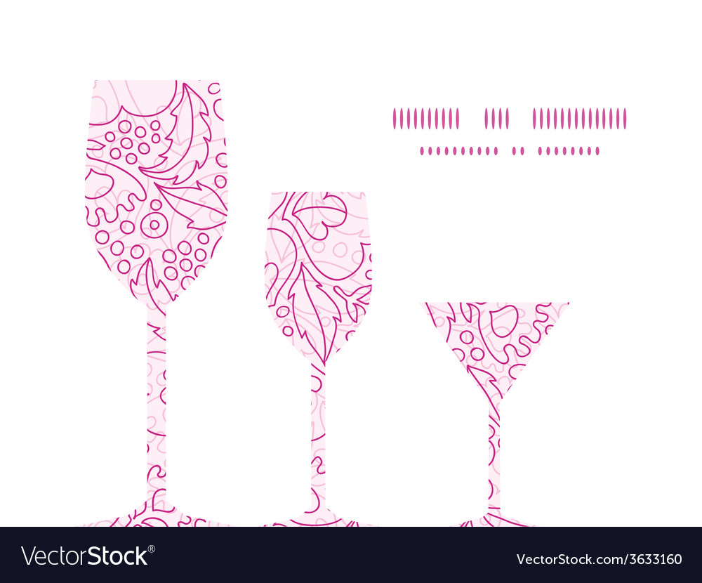 Pink flowers lineart three wine glasses vector | Price: 1 Credit (USD $1)