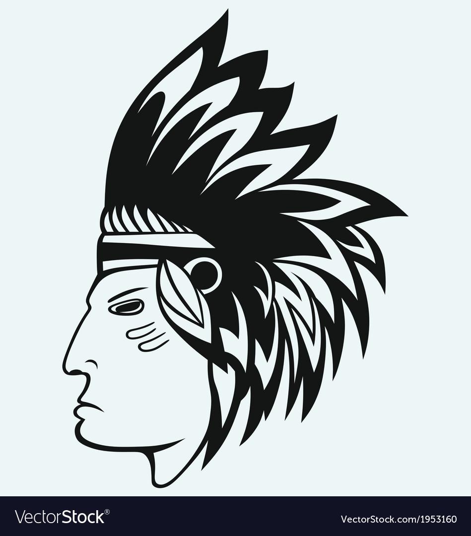 Portrait of american indian vector   Price: 1 Credit (USD $1)