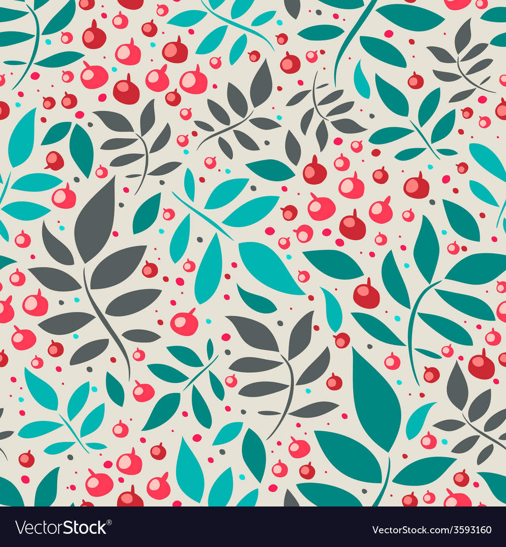 Seamless pattern with leaves and red berries vector | Price: 1 Credit (USD $1)