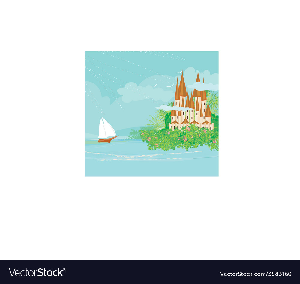 Ship going back to castle vector