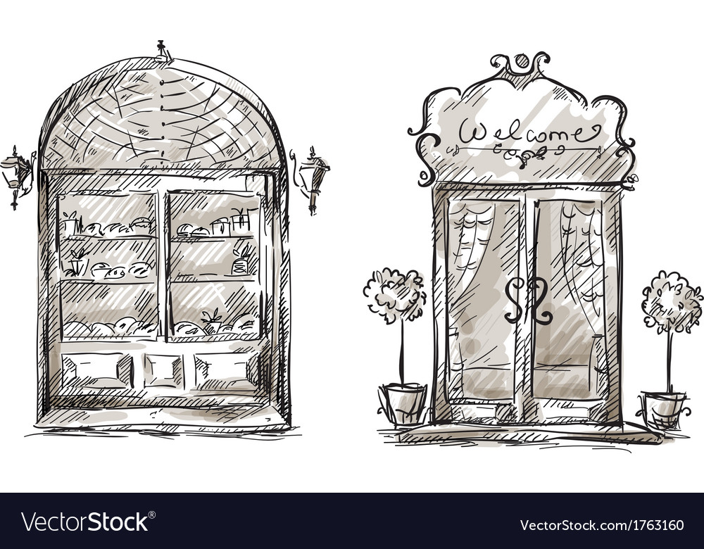 Shop-window and entrance door drawing retro style vector | Price: 1 Credit (USD $1)