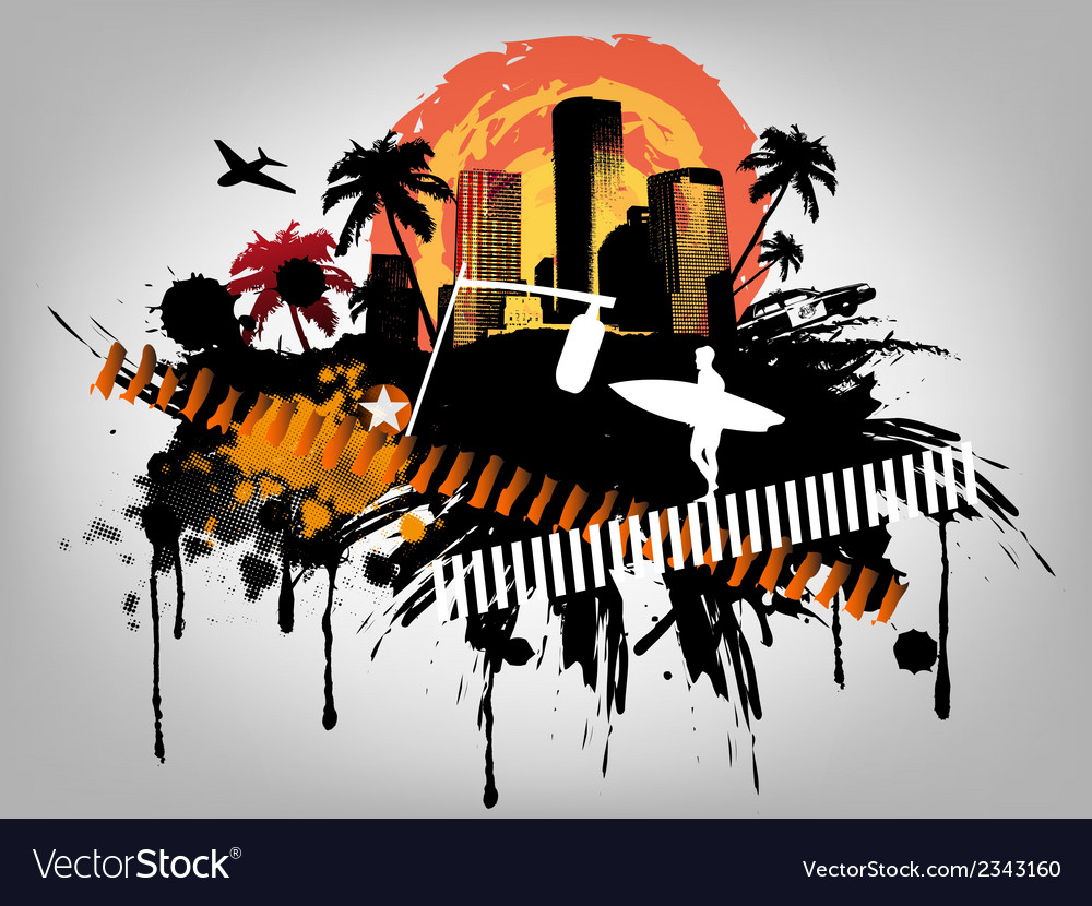 Summer beach concept downtown party city vector | Price: 1 Credit (USD $1)