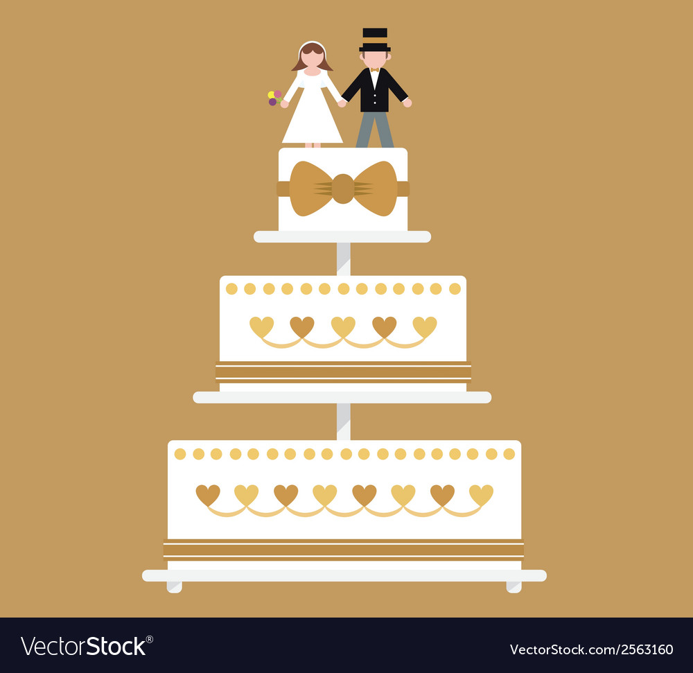 Wedding cake gold ribbon vector | Price: 1 Credit (USD $1)