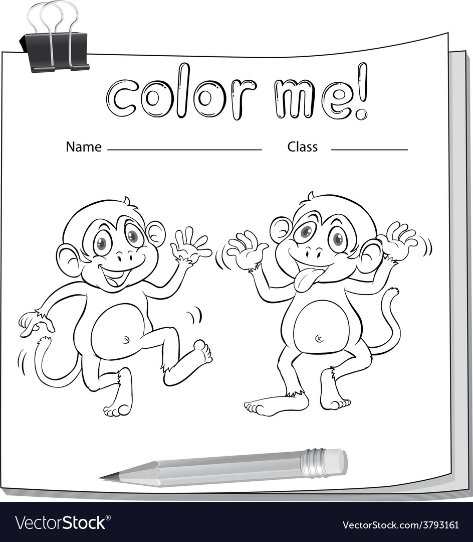 A worksheet showing two playful monkeys vector | Price: 1 Credit (USD $1)