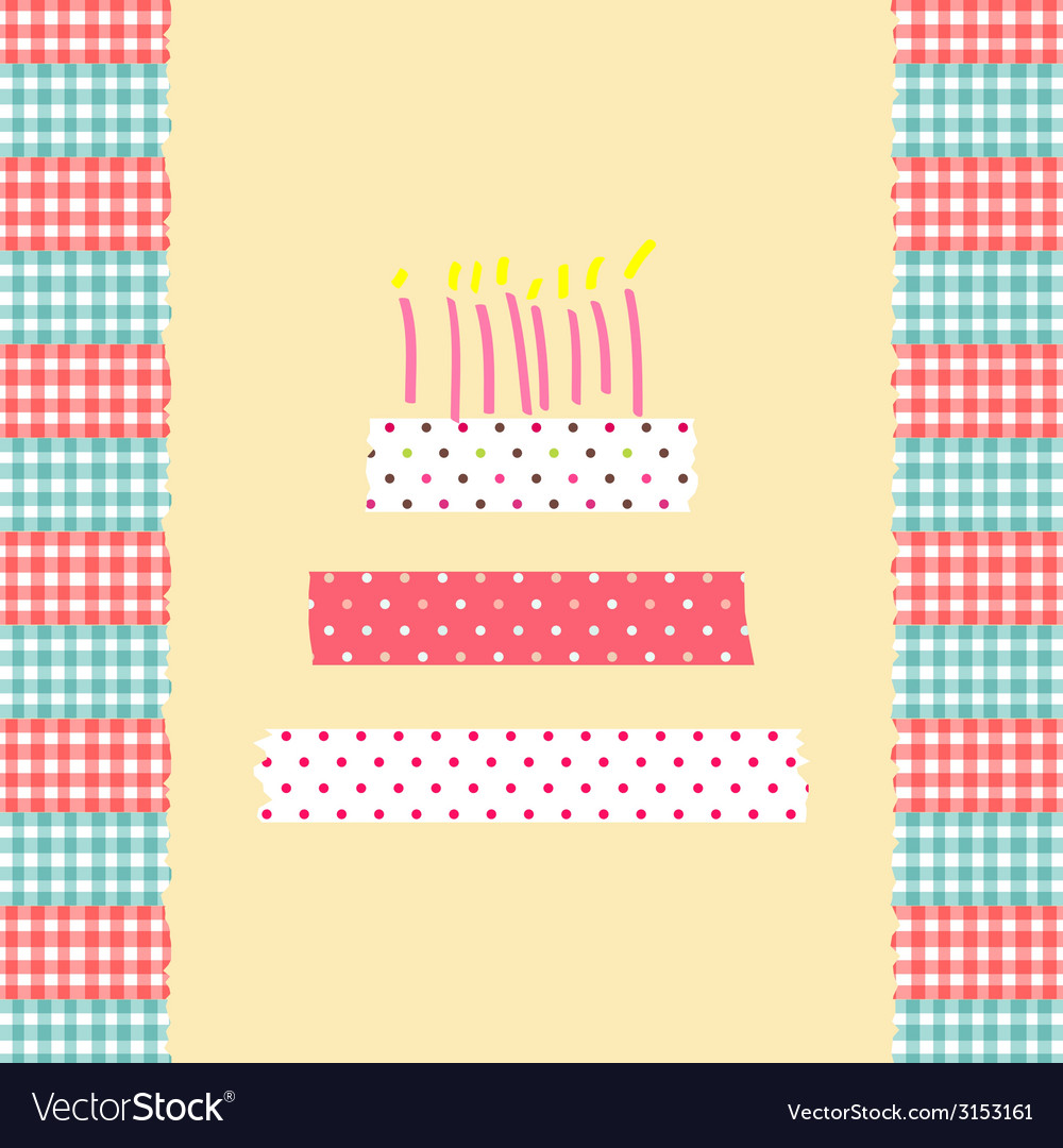 Birthday cake card vector | Price: 1 Credit (USD $1)