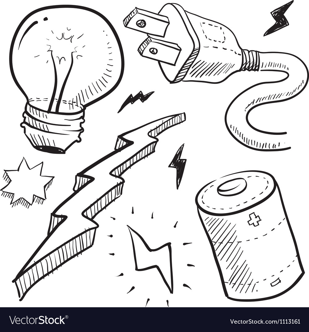 Doodle power electricity lightbulb battery bolt vector | Price: 1 Credit (USD $1)