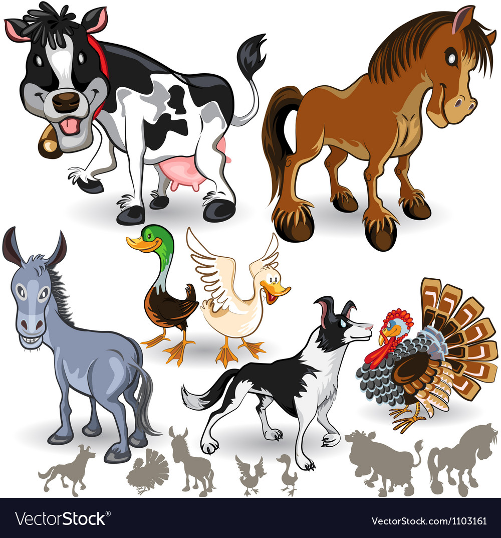 Farm animals collection set 02 vector | Price: 3 Credit (USD $3)