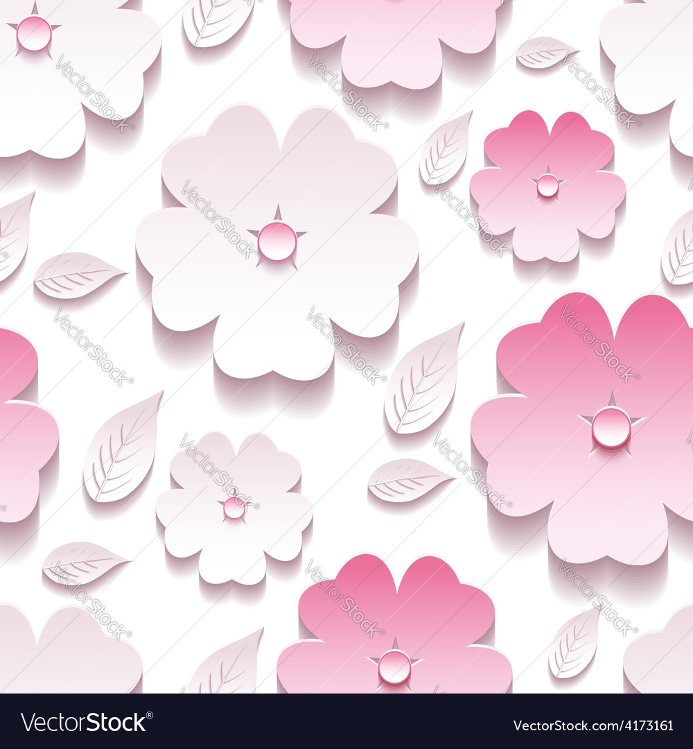 Floral background seamless pattern pink 3d sakura vector | Price: 3 Credit (USD $3)
