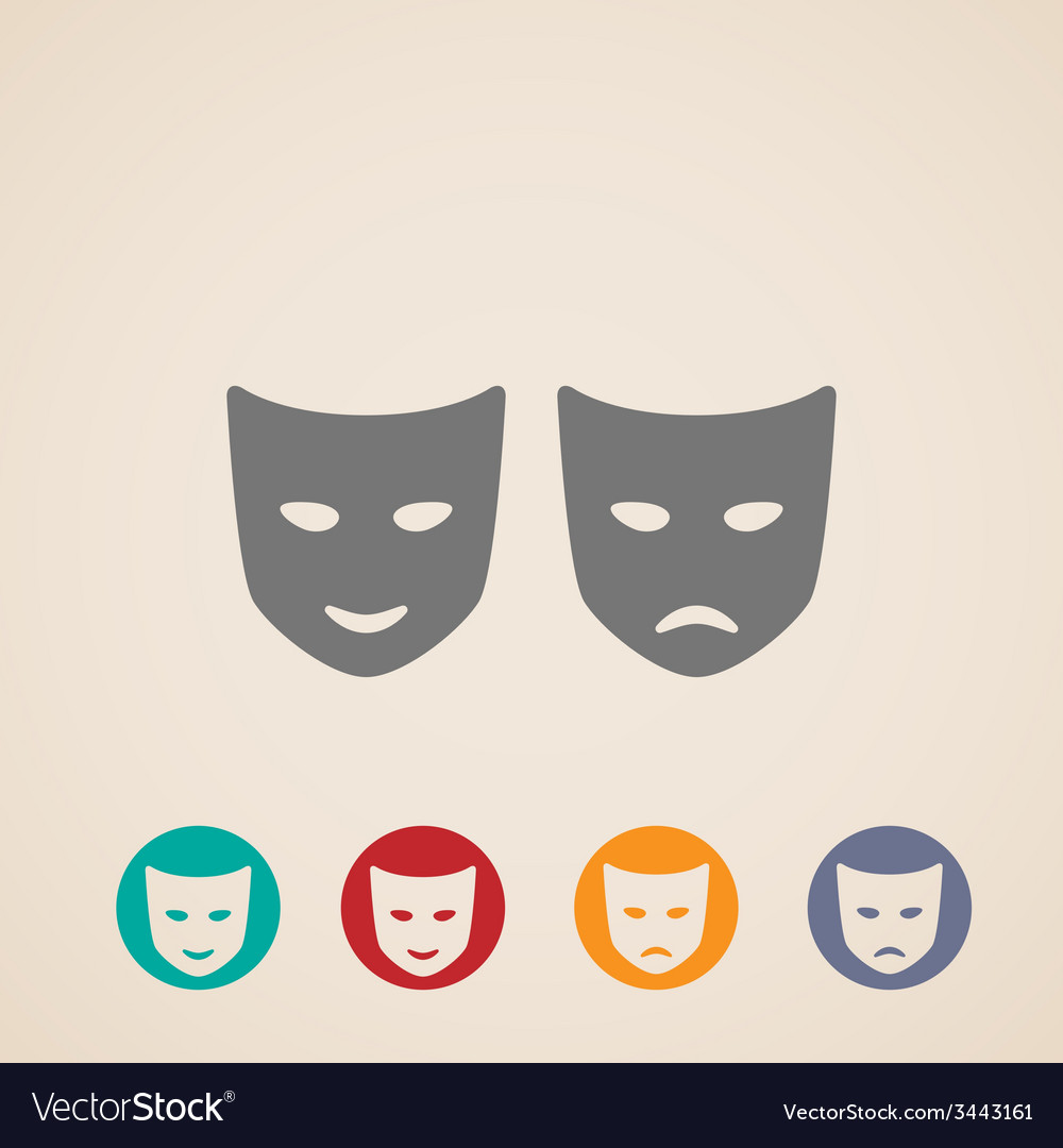Icon set of theater masks vector | Price: 1 Credit (USD $1)