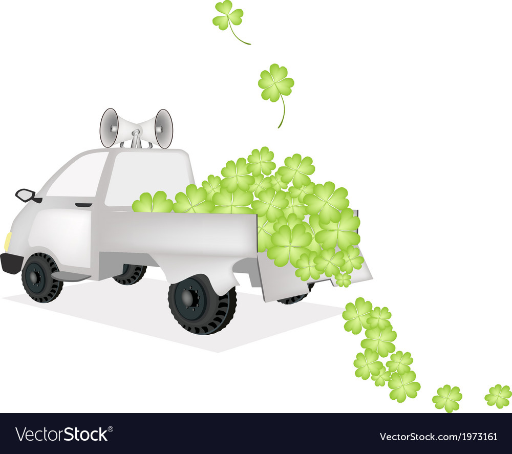 Many four leaf clovers on a pickup truck vector | Price: 1 Credit (USD $1)