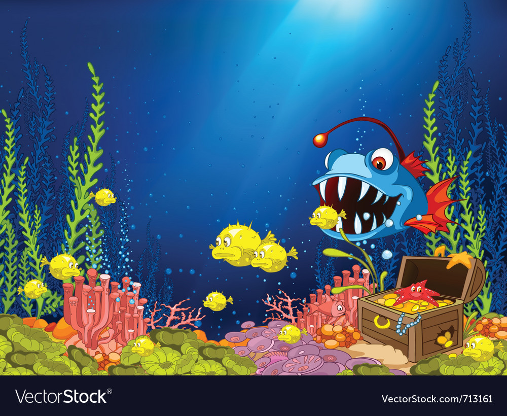 Ocean underwater cartoon vector | Price: 3 Credit (USD $3)