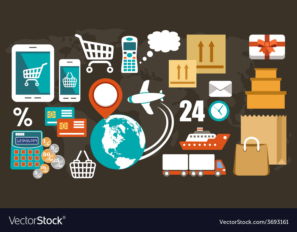 Online shopping set vector | Price: 1 Credit (USD $1)
