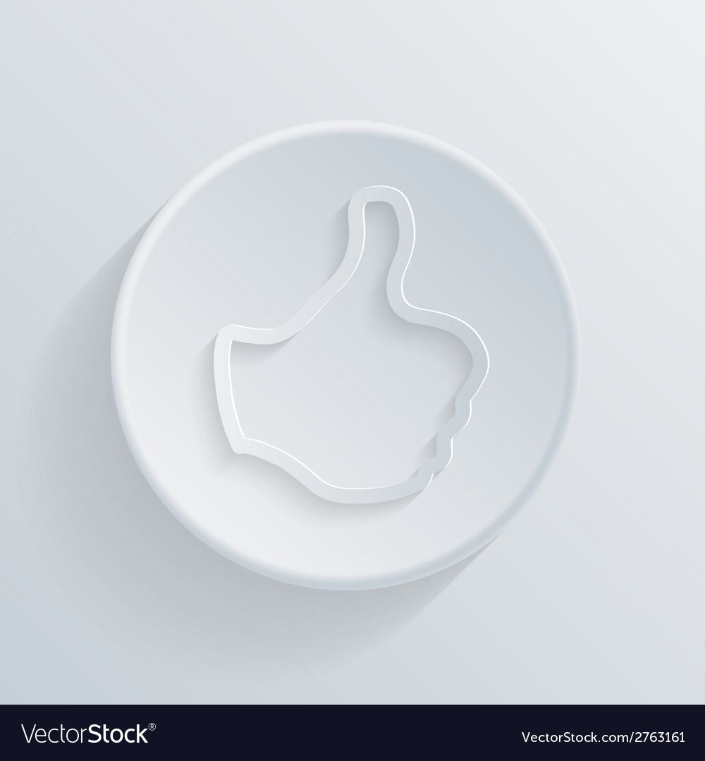 Paper flat circle icon with a shadow thumb up vector | Price: 1 Credit (USD $1)