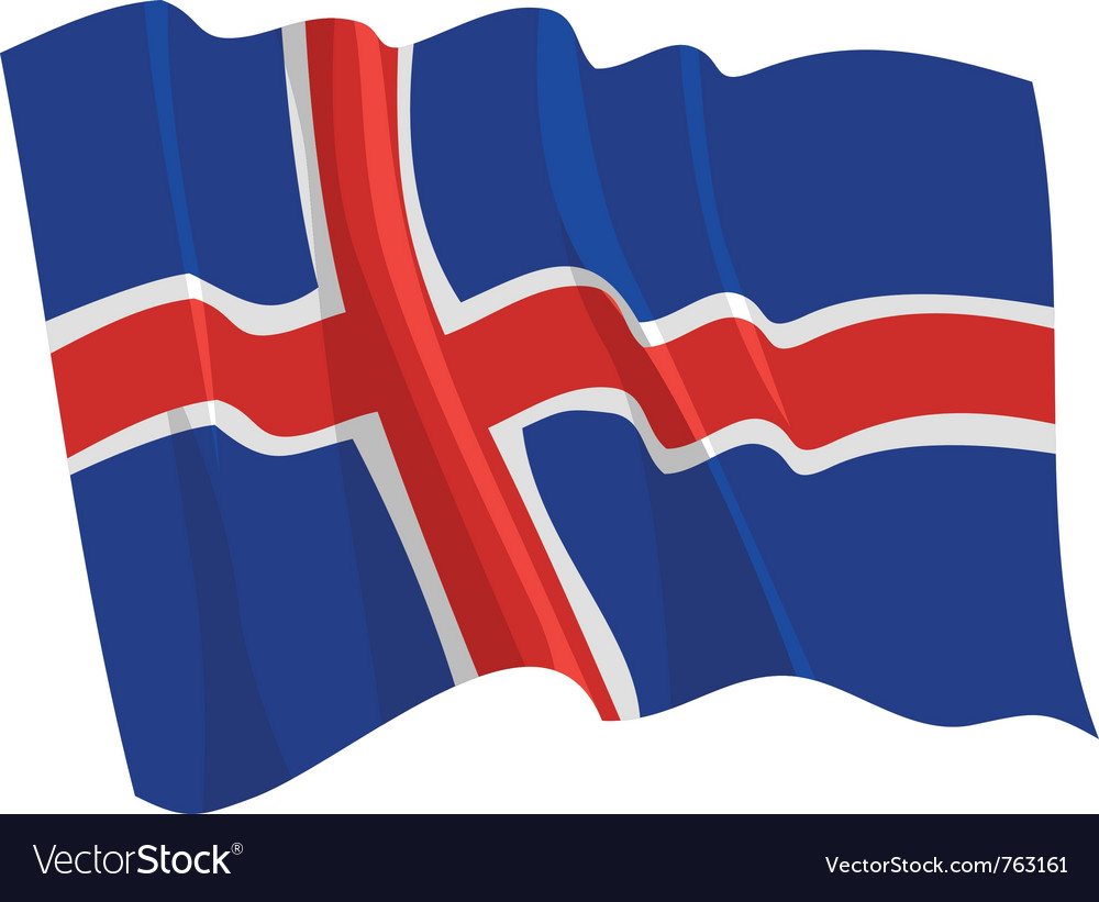 Political waving flag of iceland vector | Price: 1 Credit (USD $1)