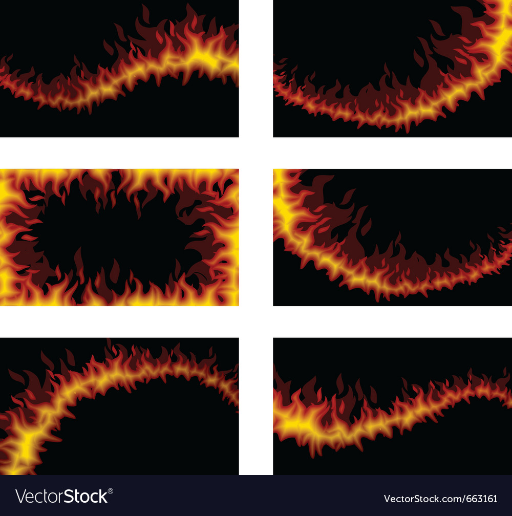Set of six fiery cards vector | Price: 1 Credit (USD $1)