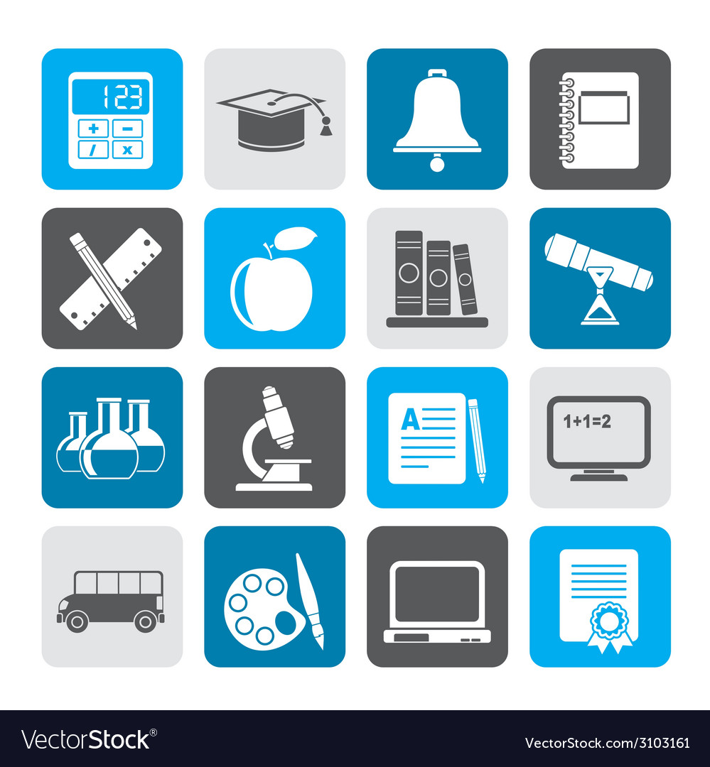 Silhouette education and school objects icons vector | Price: 1 Credit (USD $1)