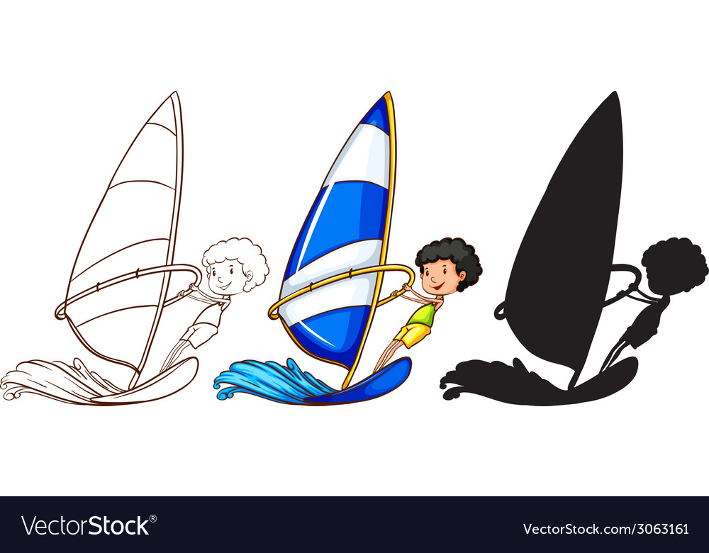 Sketches of a boy playing with the waves in three vector | Price: 1 Credit (USD $1)