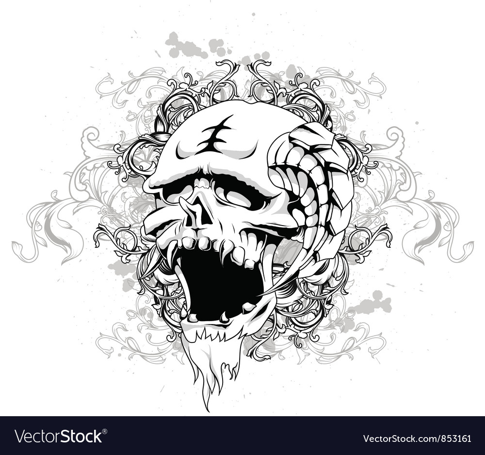 Skull with floral and grunge vector | Price: 1 Credit (USD $1)