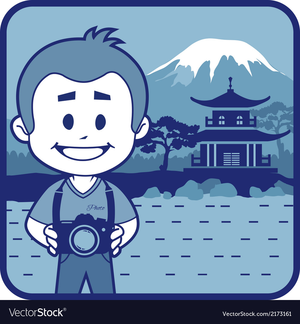 Teaser with photographer travels through japan vector | Price: 1 Credit (USD $1)