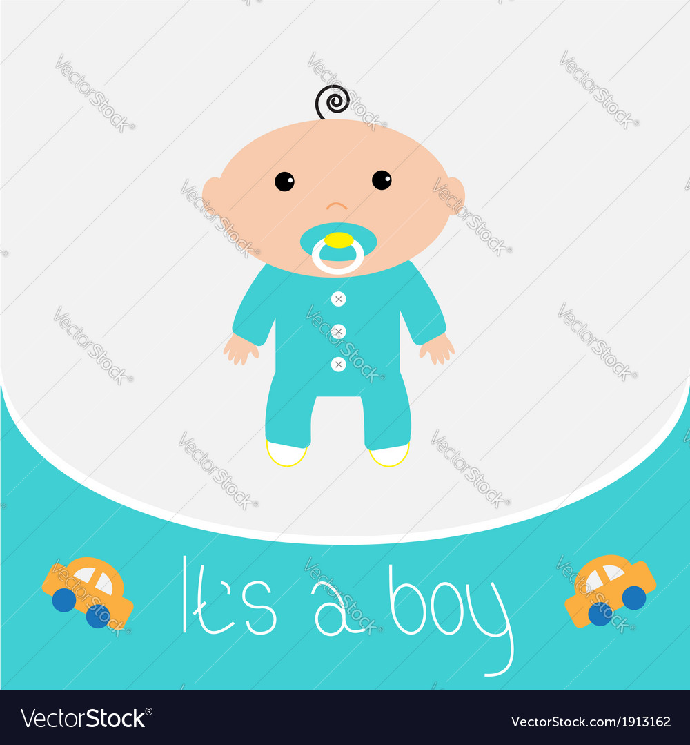 Baby shower card its a boy vector | Price: 1 Credit (USD $1)