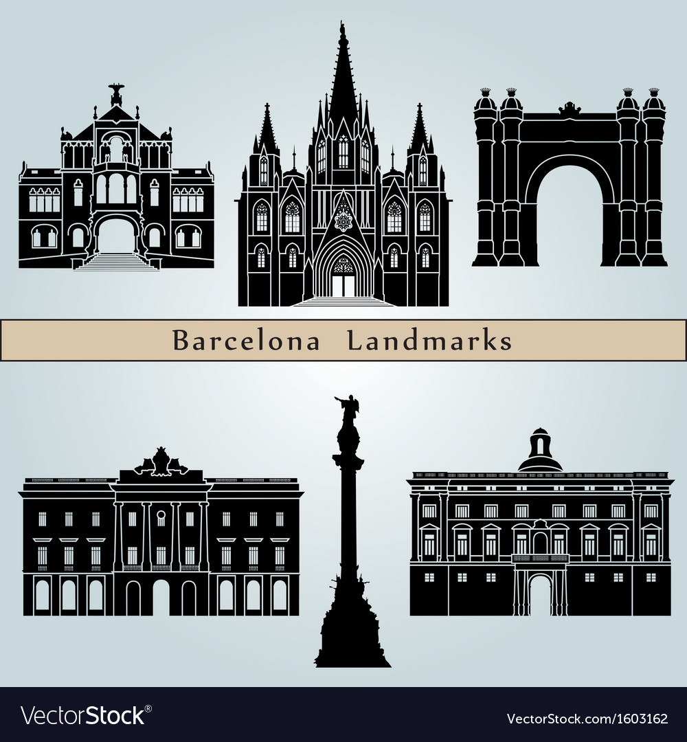 Barcelona landmarks and monuments vector | Price: 1 Credit (USD $1)