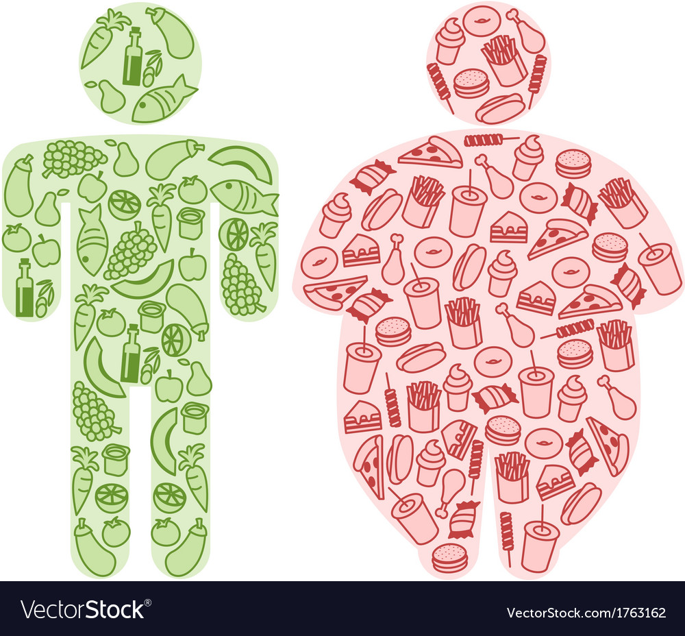 Diet and fatty food vector | Price: 1 Credit (USD $1)