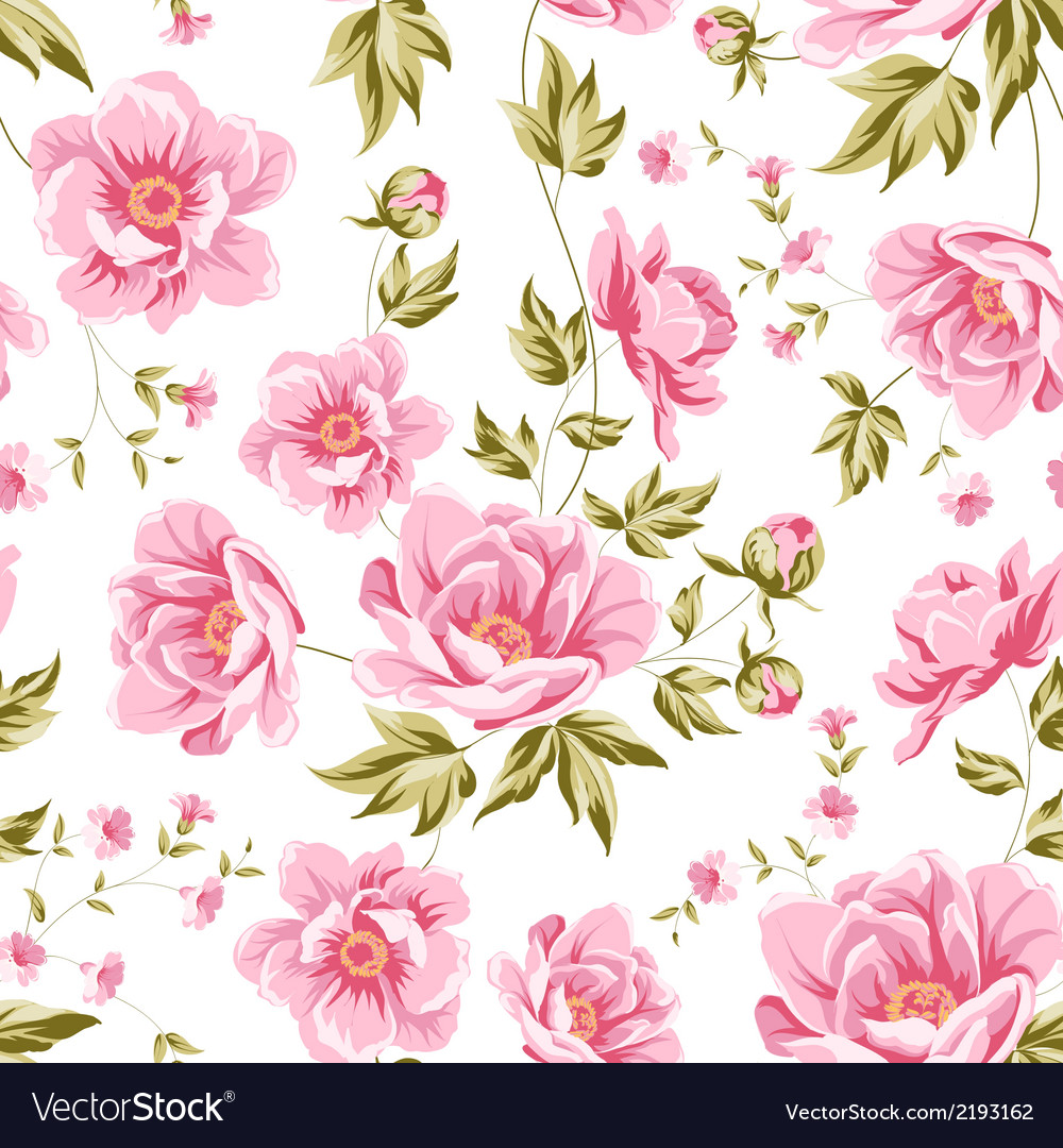 Elegant seamless peony pattern vector | Price: 1 Credit (USD $1)