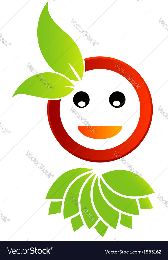 Happy smiley with green leaves vector | Price: 1 Credit (USD $1)