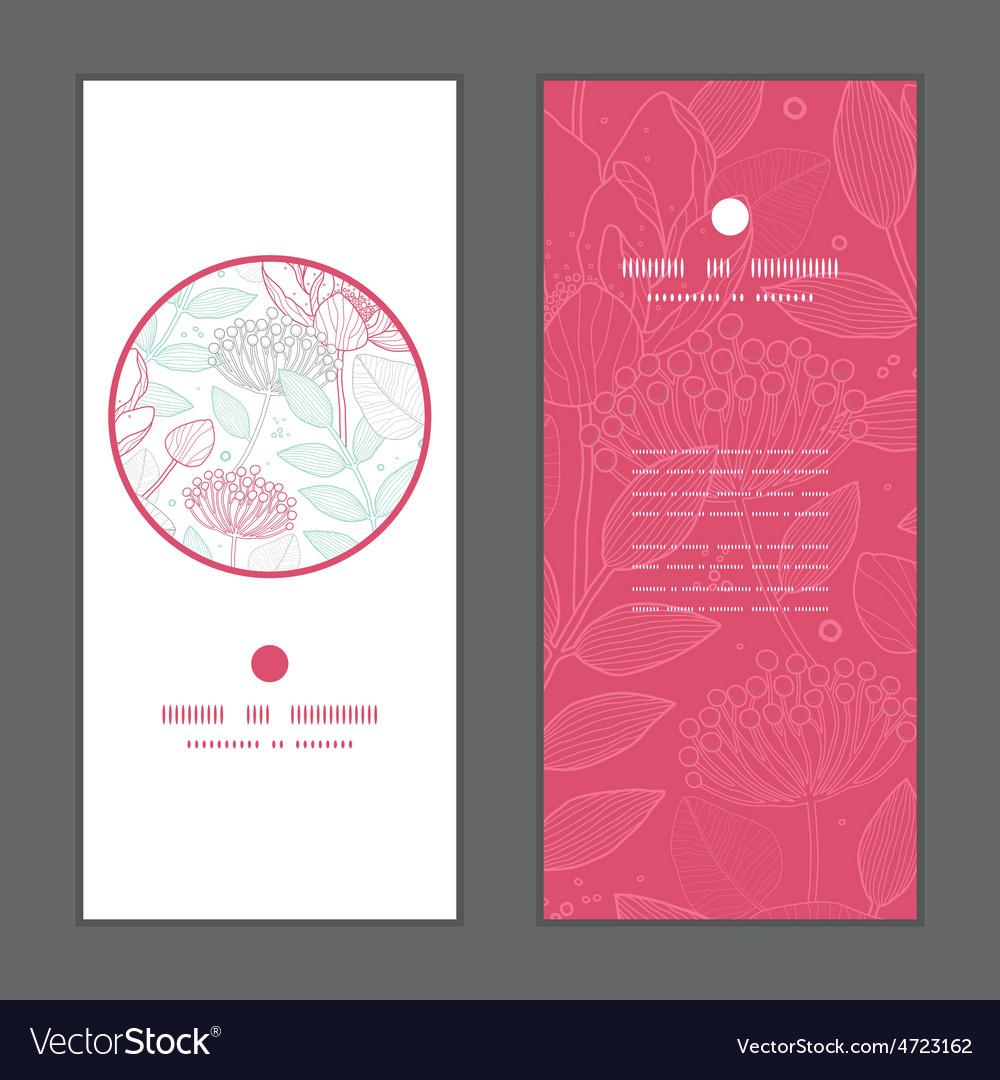 Modern line art florals vertical round vector | Price: 1 Credit (USD $1)