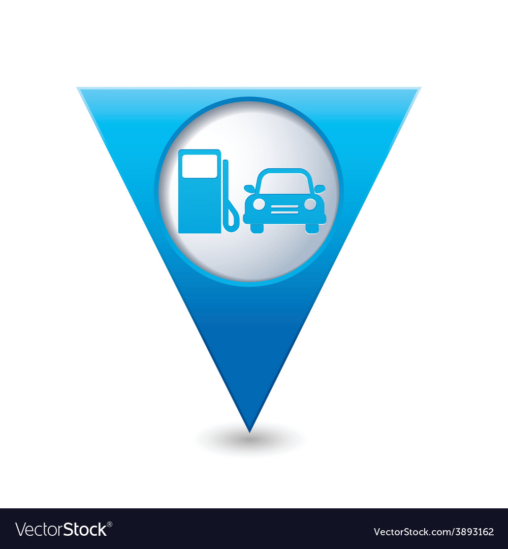 Petrol station and car4 blue triangular map vector | Price: 1 Credit (USD $1)