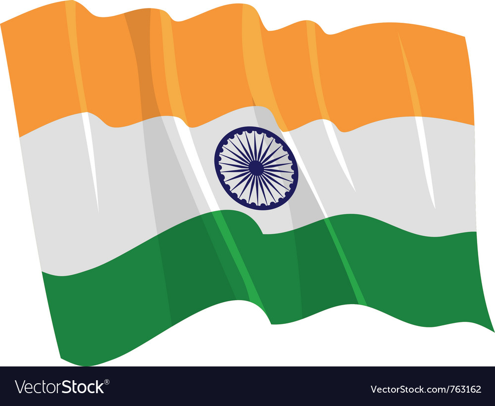 Political waving flag of india vector | Price: 1 Credit (USD $1)
