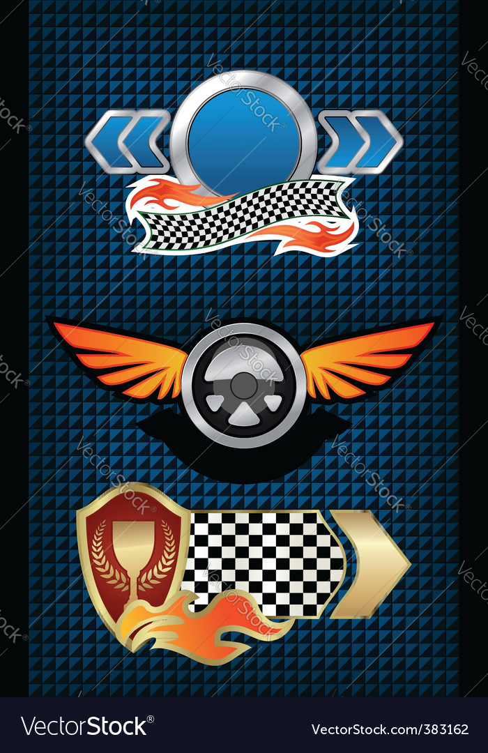 Racing symbols and icons vector | Price: 1 Credit (USD $1)