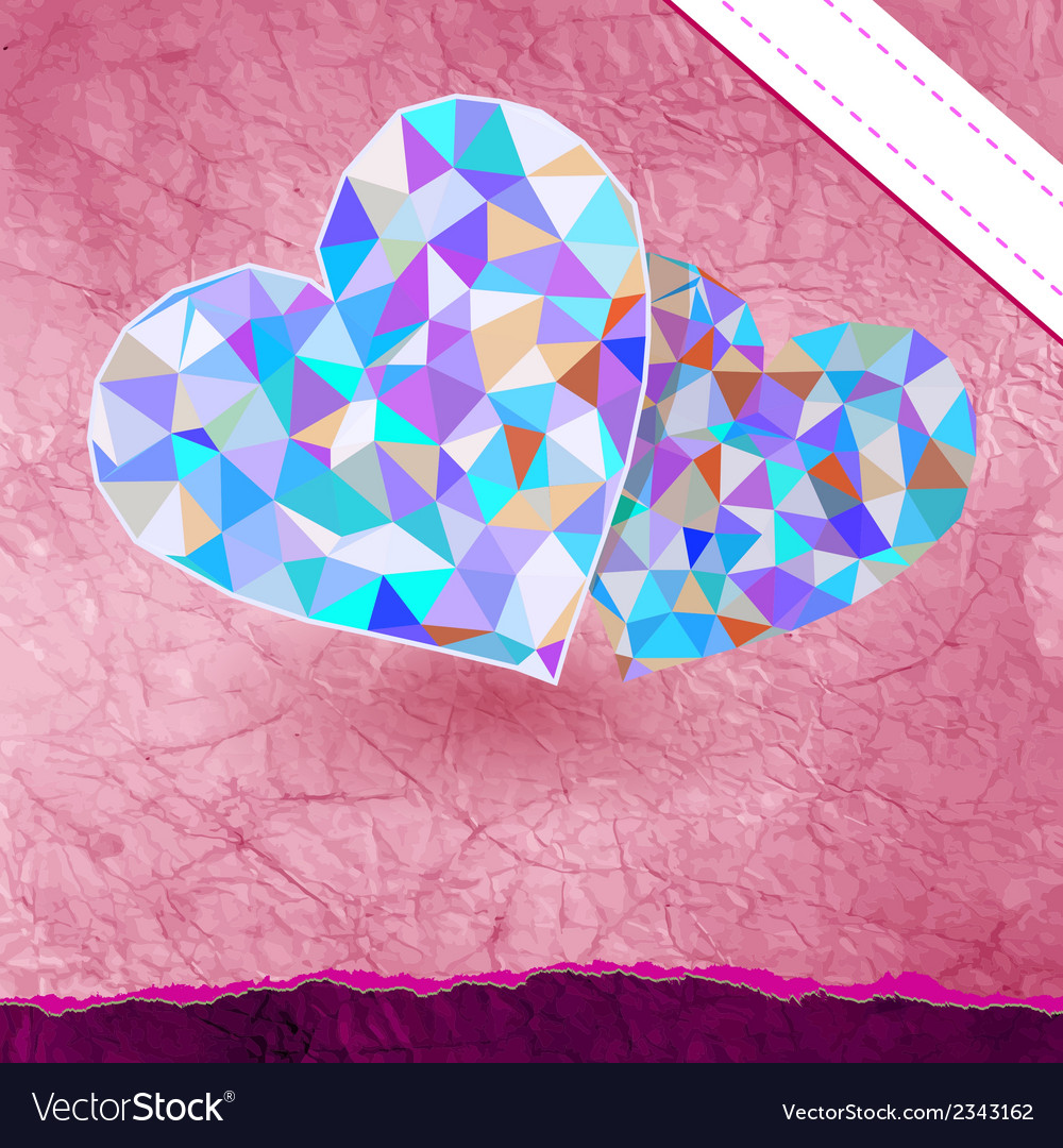 Retro heart made from color triangles eps 8 vector   Price: 1 Credit (USD $1)