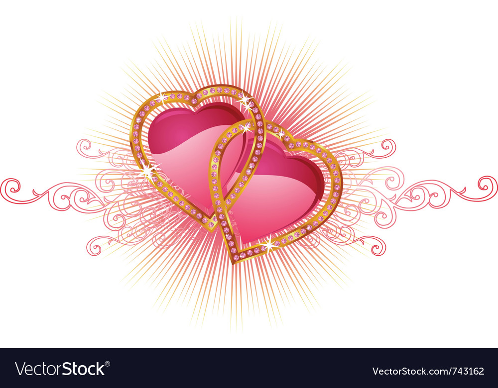 Two love hearts valentine and wedding vector | Price: 1 Credit (USD $1)