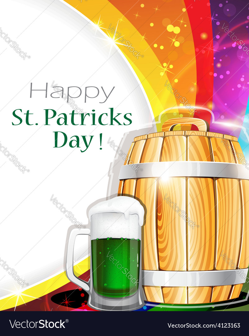 Beer glass and barrel on rainbow background vector | Price: 3 Credit (USD $3)