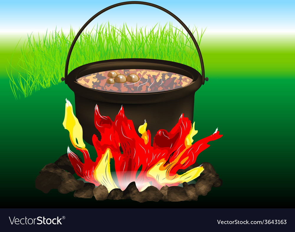 Campfire cooking vector | Price: 1 Credit (USD $1)