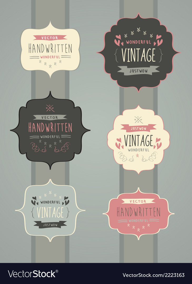 Collection of hand drawn vintage label frame vector | Price: 1 Credit (USD $1)