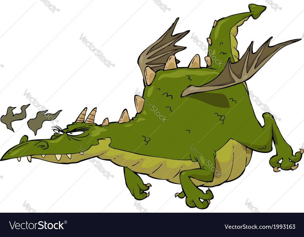 Green flying dragon vector | Price: 1 Credit (USD $1)